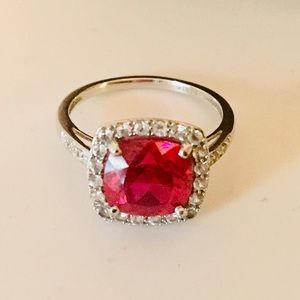 Zales Jewelry Ruby Cocktail Ring In 10k White Gold Size 7 Poshmark